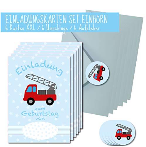 XXL Feuerwehr Einladungskarten Set DIN A5 für Jungen und Mädchen/Kindergeburstag Einladungen Set für den kleinen Feuerwehrmann / 6 Karten + 6 Umschläge und 6 Aufkleber hochwertig gedruckt -