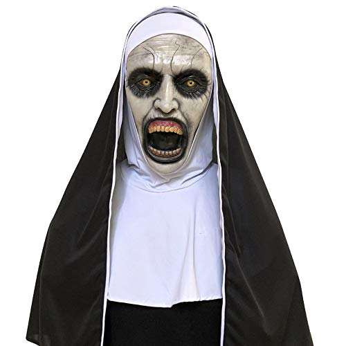 QHJ Halloween Kostüm Party Maske Cosplay Scary Horrible Nonne Mask Schmelzendes Gesicht Latex Kostüm Halloween Maskerade Helloween Kostüm Party (A) (Maskerade Halloween Kostüm)