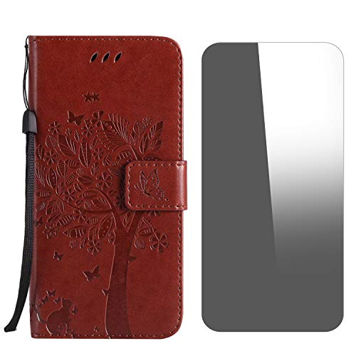 Galaxy J4 Plus 2018 Case, Conber Shockproof Leather Wallet Flip Case Cover + [Free Tempered Glass Screen Protector], Vintage Emboss Tree and Cat Design Case for Samsung Galaxy J4 Plus 2018 - Coffee