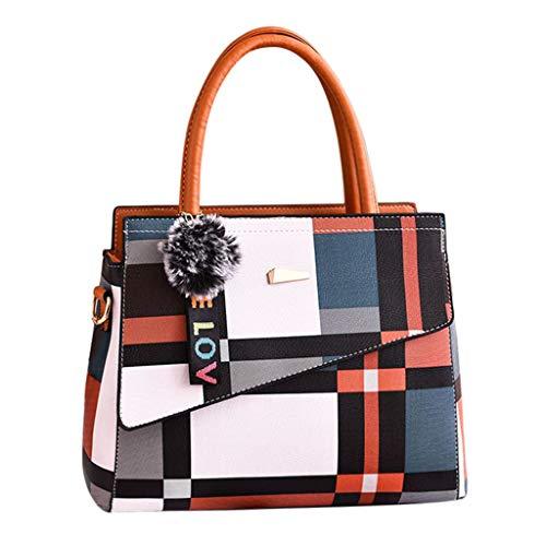 LILIHOT Damen Handtaschen Leder Haar Ball Ornamente Umhängetasche Mode Wilde diagonale Tasche Frauen Multi-Color Handtasche Multifunktions Aufbewahrungstasche Wandern Wasserdichte Tasche -