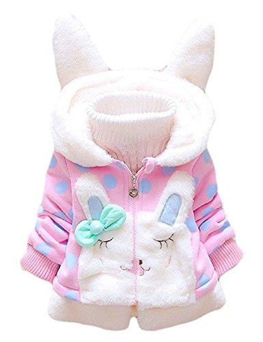 Tkiames Bebé Niñas Chaqueta Sudadera con Capucha Manga larga Polca Punto Abrigo Hoodies (1-2 años, rosado)