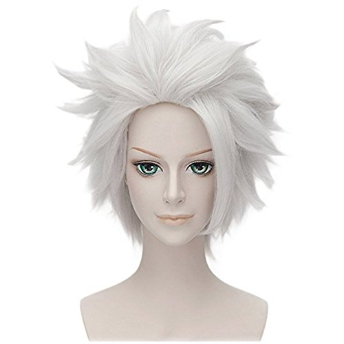 Falamka New Layered Silver White Hatake Kakashi NARUTO Spiky Cosplay Wig (Hook Perücke)