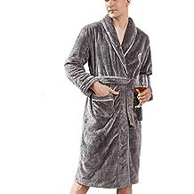 DAFREW Batas de los Hombres, Ropa de casa de camisón cálido Grueso de Franela,