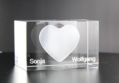VIP-LASER 3D XL Glas Kristall Herz mit zwei Wunschnamen graviert - das ideale Liebesgeschenk Partnergeschenk Geschenk für besondere...