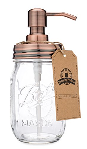 jarmazing Produkte Classic Farmhouse Mason Jar Seifenspender-Kupfer-mit 16Unze Ball Mason Jar -