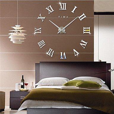 Preisvergleich Produktbild YHEGV 3D-Clock Wall Sticker Wall Sticker Wand Spiegel Aufkleber,  die Mauer von Rom acryl Aufkleber Aufkleber Alarm Clocks Home Decor,  schwarz