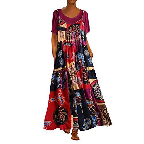 Indischen Kostüm Ihre Staaten Und - Anglewolf Damen Zweiteiliger Elegantes Kleid Strandkleider TüRkischer Stil Lose Sommerkleider Mode Dress Shirt Strandhemd Retro Kleid Strandkleid(Pink - Sling 2,4XL)