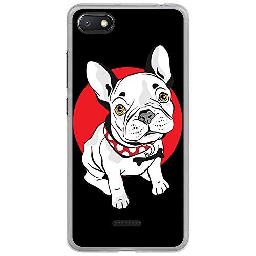 BJJ SHOP Funda Transparente para [ Xiaomi Redmi 6A ], Carcasa de Silicona Flexible TPU, diseño: Perro Bulldog Frances Blanco Cachorro