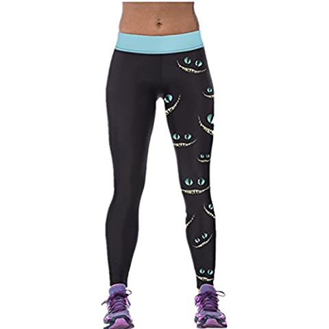 Ninimour Mujer Pantalones elásticos 3D Digital Print Tight Stretchy Sports Pants Leggings