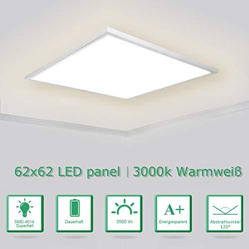 [PRO High Lumen]OUBO LED Panel 62x62cm Warmweiß / 36W / 4600lm /3000K / Weißrahmen Lampe dünn SLIM Ultraslim Deckenleuchte Pendelleuchte Wandleuchte Einbauleuchten