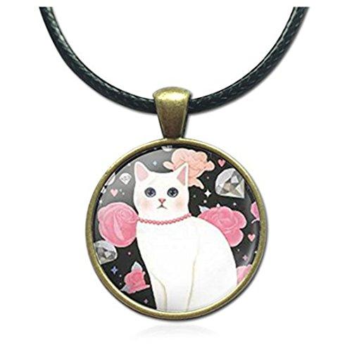 Cristal 25mm cabujón de cristal colgante cuerda de gato Bronce Declaración Cadena Colgantes joyas de moda para las mujeres