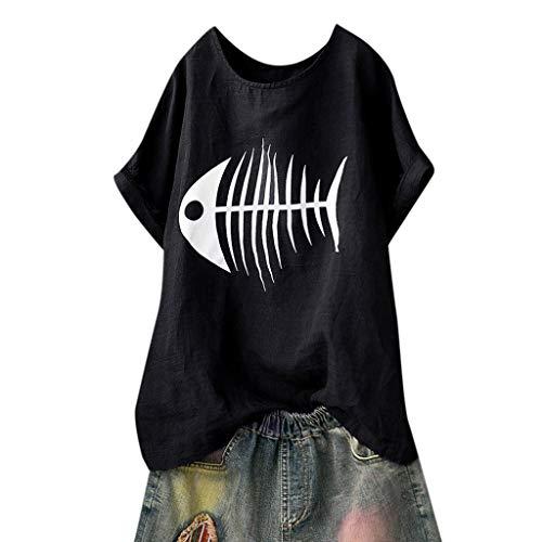 Lazzboy Donna T-Shirt Top Plus Size Fish Bone/Cactus Stampare Fashion Tinta Unita Largo Oversize Bluse(42,Nero-Lisca di Pesce)