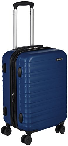 AmazonBasics Valise rigide à roulettes Taille cabine 55 cm, Bleu marine
