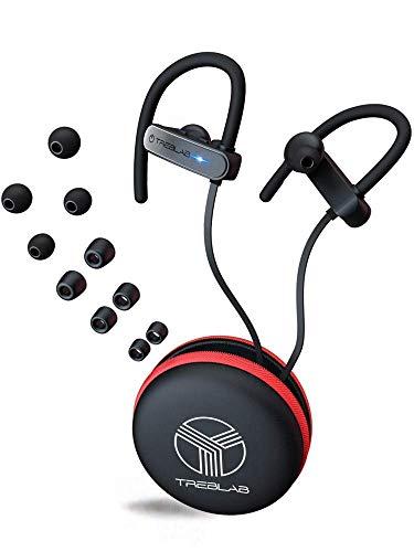 TREBLAB XR800 Mejores audífonos Bluetooth inalámbricos para deportes, correr o el gimnasio. Mejor modelo 2018. A prueba de agua iPX7, sudor, ajuste seguro. Cancelación de ruido y micrófono (grafito)