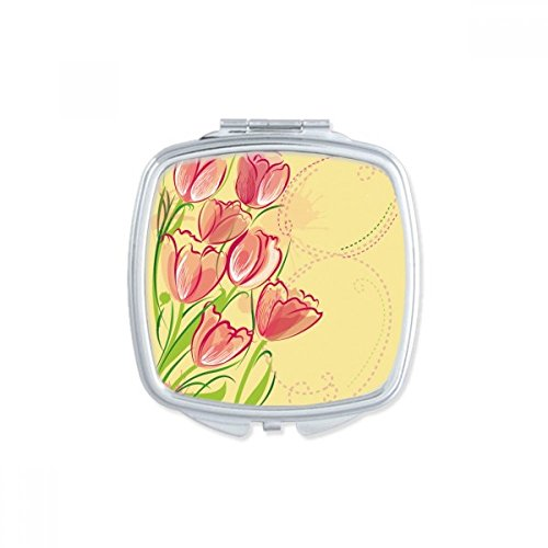DIYthinker Main Tulipe Peint Fleur Illustration Usine Miroir carré Maquillage Compact Portable Mignon Cadeau Miroirs de Poche à la Main Multicolore
