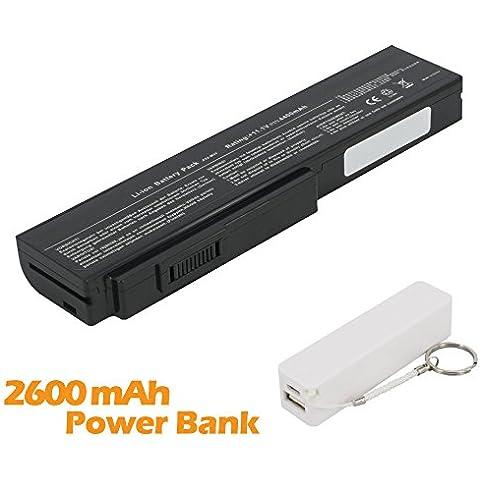 Battpit Bateria de repuesto para portátiles Asus N53S (4400mah / 48wh) con 2600mAh Banco de energía / batería externa (blanco) para Smartphone