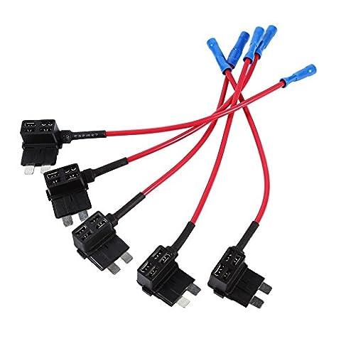 Porte Fusible Lame Auto VGEBY 5x 12V TAP Adaptateur Mini Support Fusible Lame Circuit Additif ATM APM Voiture Avec Fil Câble