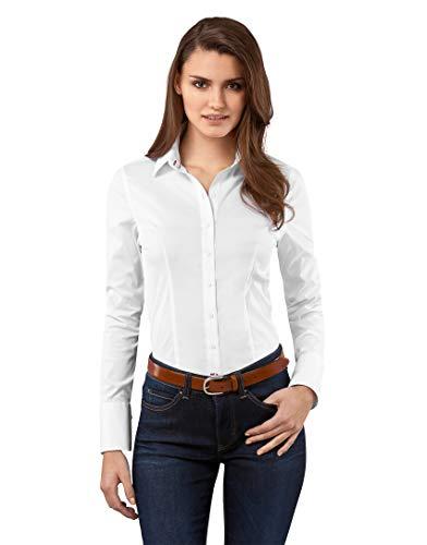 Vincenzo Boretti Damen Bluse besonders tailliert mit Stretch Langarm Hemdbluse elegant festlich Kent-Kragen auch für Business und unter Pullover weiß 34 -