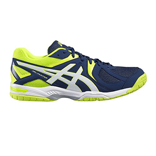 Asics Gel-Hunter 3, Scarpe da Badminton Uomo Blu (Poseidon/white/safety Yellow)