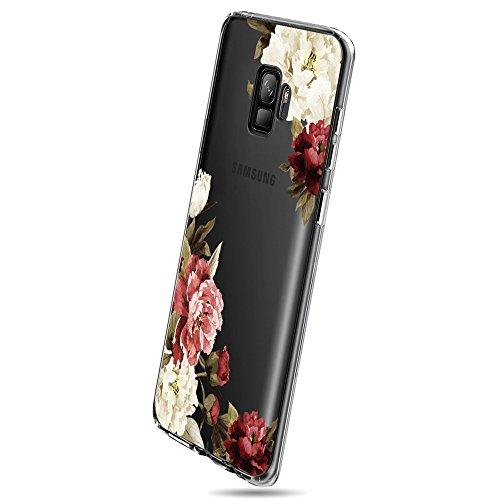 Qissy Cover Compatible With Galaxy S9, Cover Galaxy S9 Plus Silicone Case Bellissimi fiori TPU Coperchio Trasparente Molle di Sottile Custodia per Galaxy S9+ / S9 Plus (3, Samsung Galaxy S9)