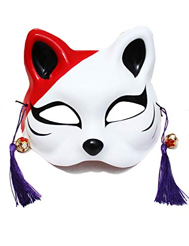 Halloween Kostüm Maske Painted Fox Maske Im Japanischen Stil (Farbe : Red+White, größe : M) (Red Fox Halloween-kostüm)
