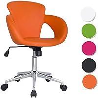 SixBros. Design Rollhocker Arbeitshocker Hocker Bürostuhl Orange M-65335-1/2136
