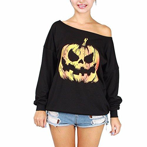 EMMA Damen Sexy Halloween Allerheiligen Pumpkin Kürbis Muster Langarm Lässig Sweatshirt Pullover Schulterfrei Oberteiler Shirt Kostüm Tops Jumper Super (Halloween Sexy Damen Billig Kostüme)