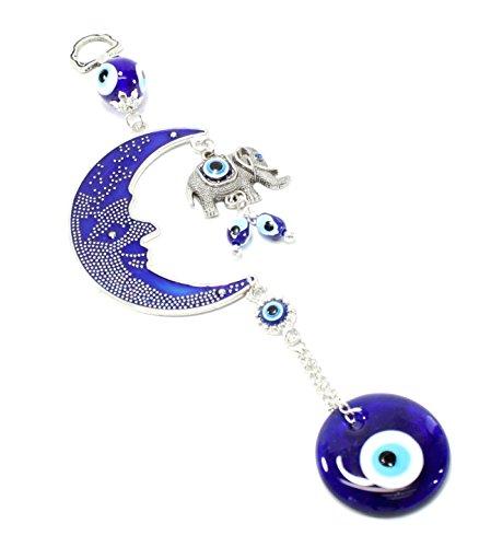 Turco azul (Nazar) diseño de ojo amuleto de elefante luna y colgar en la pared decoración del hogar protección bendición regalo de inauguración de la casa cumpleaños nosotros vendedor