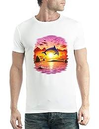 avocadoWEAR Delfín Puesta de Sol Mar Hombre Camiseta ...