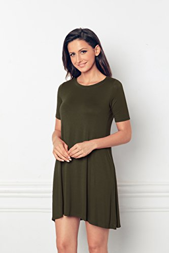 EasyMy Damen Kleid Tunika Casual T-Shirt Schulterfrei Cold-shoulder Grün-3