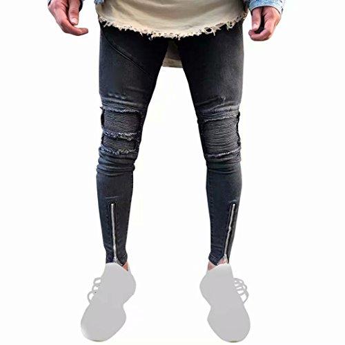 Hotsellhome 2018 Men's Ripped Slim Fit Motorcycle Vintage Denim Jeans Hiphop Streetwear Pants