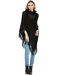 Cayman Black Acrylic Woollen Knitted Poncho Sweater