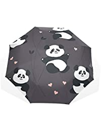 EZIOLY Panda Hearts Planta Viaje Paraguas Ligero Anti UV Sun Rain Paraguas para Hombre Mujer Niños