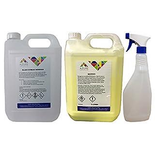 Schwarz Streak wasserloses Shampoo und Entferner Polish von Streak Free–2x 5L + Sprühflasche 750ml