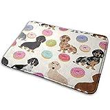 Huabuqi Doxie Dackel Donuts Cute Dog Fabric Beste Hundegeschirr Donuts Dackelstoff Doxie_422 Badematte Rutschfeste, saugfähige, super gemütliche Badezimmer-Teppich-Dekor-Wolldecke 15,7