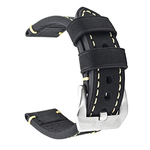 Ersatz-Uhrenband, echtes Leder, für Armbanduhr, Vintage-Stil, für Herren/Frauen, mit Edelstahlschnalle, schwarz/braun, 20mm/22mm/24mm, Schwarz , 22 mm