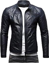 CRONE Epic Herren Lederjacke Cleane Leichte Basic Jacke aus weichem  Schafs-Leder 00f1b8bea3
