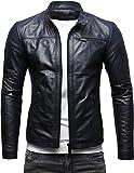 CRONE Epic Herren Lederjacke Cleane Leichte Basic Jacke aus weichem Schafs-Leder (XL, Deep Blue)