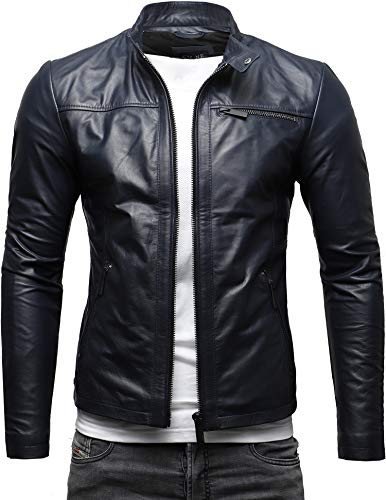 CRONE Epic Herren Lederjacke Cleane Leichte Basic Jacke aus weichem Rindsleder (L, Deep Blue)