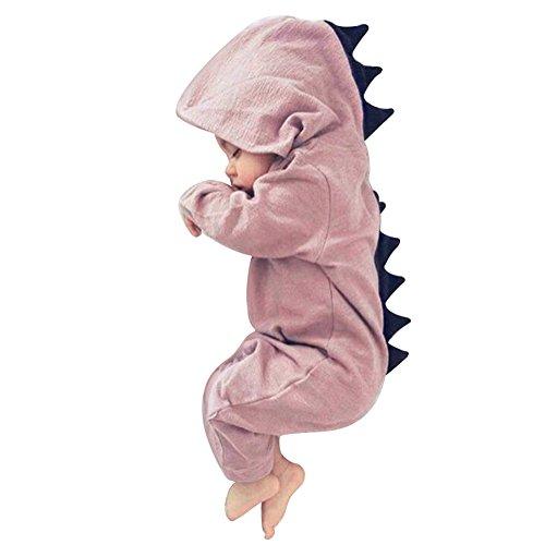 Tangbasi Toddler Baby tutina invernale autunno con cappuccio neonato Halloween dinosauro costume rosa Pink 0-6 mesi