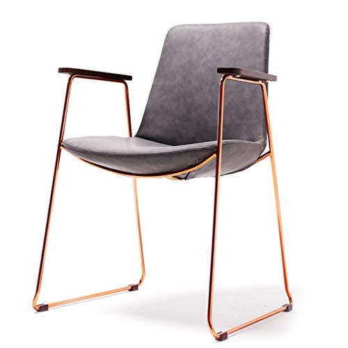 Chaise Structure en Acier Massif Chaise Chaise de Bureau Dossier Chaise d'ordinateur Chaise de Salle à Manger Chaise Petit Appartement Chaise en Or Rose Pied (Color : Gray, Size : 58 * 52 * 84cm)