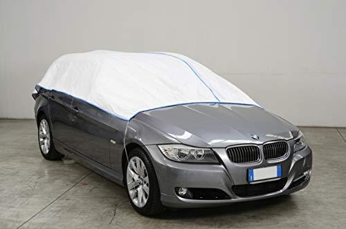 Kley & Partner Autoabdeckung Halbgarage Plane atmungsaktiv extrem leicht kompatibel mit Mercedes Klasse C (W204) ab 2007 in weiß Exclusiv aus Tyvek mit Lagerbeutel