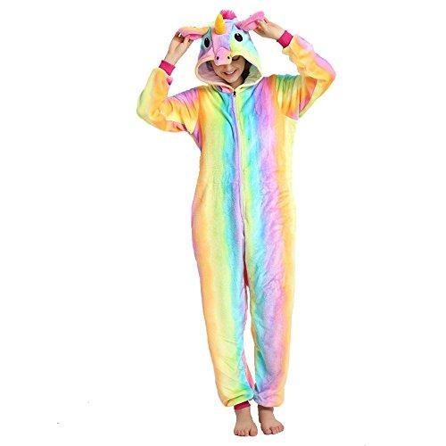 (Crazy lin Unicorn Karikatur Overalls Pyjama Nachtwäsche Nacht Kleidung Dress Up, Maskerade Partei Kostüme Für Erwachsene (M, Kordelzug Regenbogen))