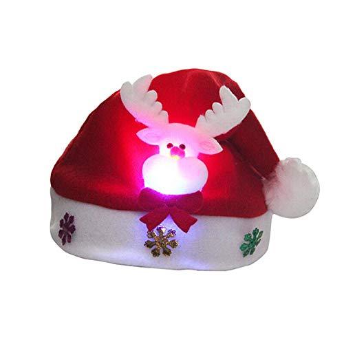 Weihnachtsmütze, Adult LED Weihnachtsmütze Weihnachtsmann Rentier Schneemann Weihnachtsgeschenke Cap, (Glühende Rehe)
