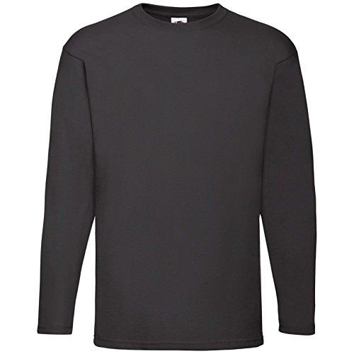 CHEMAGLIETTE! Pacco 3 Magliette Da Lavoro Stock T-Shirt Manica Lunga Fruit of The Loom Valueweight, Colore: 3x Nero, Taglia: S