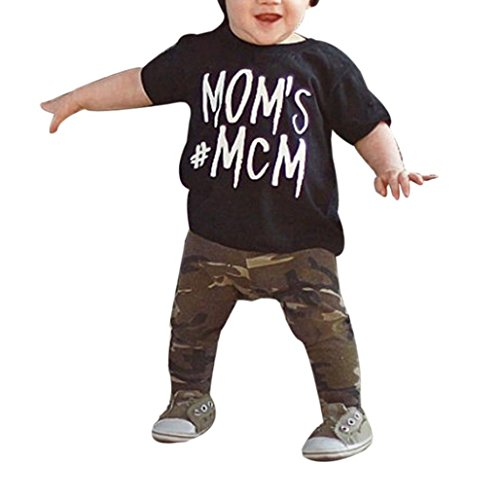 Xshuai for 1-5 Years Old Kids 2Pcs Fashion Toddler Newborn Infant Toddler Baby Boy Letter T Shirt Tops+Camouflage Pants Outfits Clothes Set (18-24 Months, Black-A)