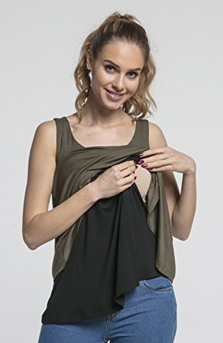 Happy Mama Damen Stillzeit Umstands-Top Westeober Lagendesign Ärmelloses. 016p Khaki & Schwarz