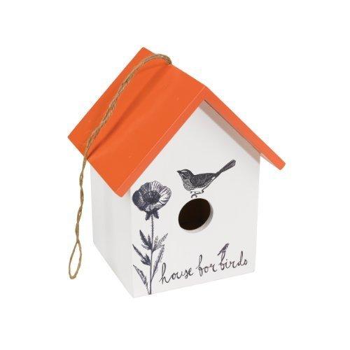 The Present Store - Casetta per gli uccelli, colore: Bianco/Arancio
