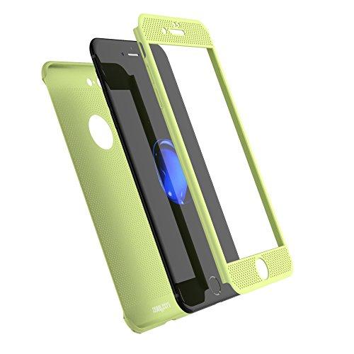 iPhone 7Plus Fall, Nohon Full Body [2] Ultra Slim/Dünn Leicht Atmungsaktiv Kühlende Mesh Fall, Harte PC Kunststoff Schutzhülle w/Displayschutzfolie aus gehärtetem Glas für iPhone 7Plus, Viridis