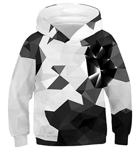 Fanient Unisex Sweatshirt Kinder Hoodies 3D Drucken Rhombus Graphic Pullover Kleidung mit Tasche für 12-13Y Teens